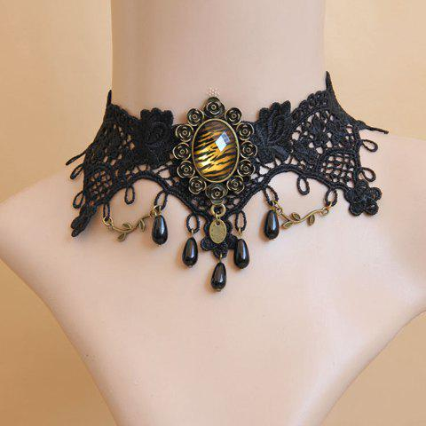 Fancy Retro Faux Pearl Leopard Pattern Lace Flower Women's Necklace