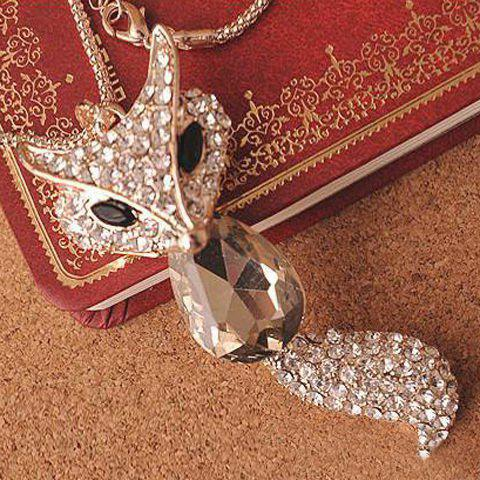 Shops Retro Rhinestone Crystal Fox Women's Sweater Chain Necklace