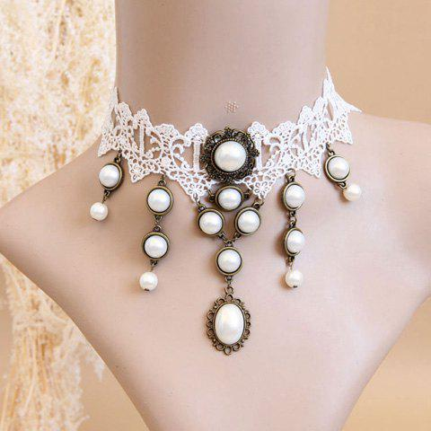 Outfit Elegant Faux Pearl Pendant Lolita Lace Necklace For Women