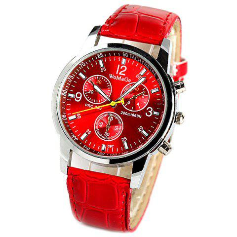 Affordable WoMaGe Quartz Watch with Rectangles Hour Marks Real Leather Watchband for Women