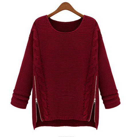 Online Women Long Sleeve Pullover Crewneck Side Zipper Knitwear Sweater