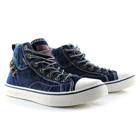 Outfit High Top Lace Up Canvas Shoes BLUE 42