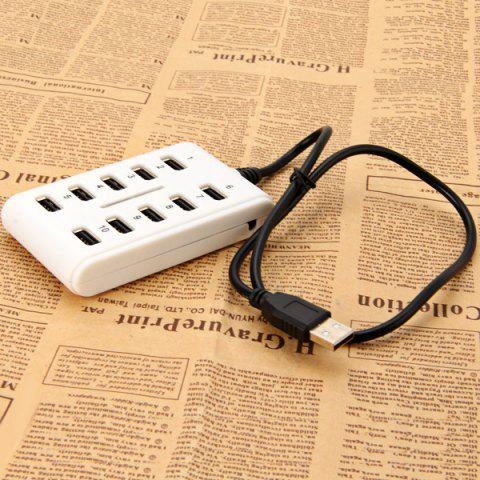 Trendy 10 Ports High Performance Lightweight USB 2.0 Hub Data Rate Up to 480Mbps