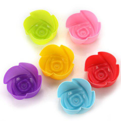 Trendy 6PCS Kitchen DIY Tool Ice Cubes Trays Maker DIY Cake Mould with Rose Style