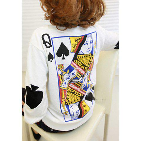 Cheap Long Sleeves Round Neck Poker Pattern Print Women's Sweatshirt WHITE ONE SIZE(FIT SIZE XS TO M)