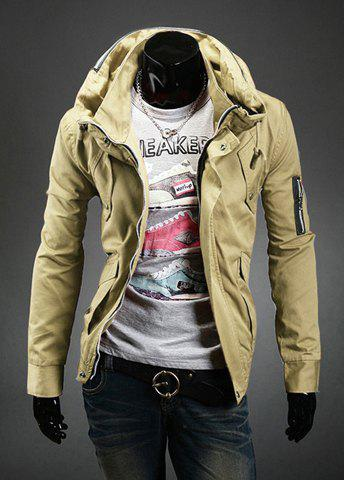 Store Stylish Slimming Double Stand Collar Solid Color Long Sleeves Men's Polyester Jacket