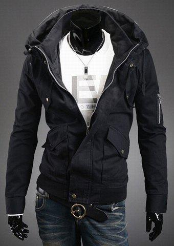 Stylish Slimming Double Stand Collar Solid Color Long Sleeves Men's Polyester Jacket - Black - L