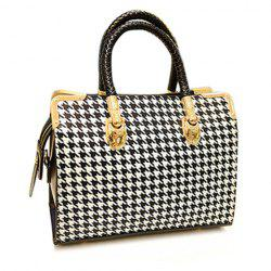 Stylish Houndstooth and Metallic Design Women's Tote Bag -