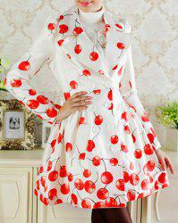 Elegant Turn-Down Collar Cherry Print Double-Breasted Long Sleeve Trench Coat For Women -