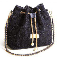 Fashion Checked and Chains Design Women's Shoulder Bag -
