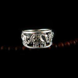 Elephant Hollow Out Alloy Ring - COLOR ASSORTED