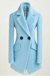 Simple All-Match Turn-Down Collar Solid Color Two Buttons Long Sleeves Waisted Blended Women's Coat -