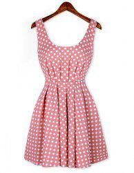 Sexy Shoulder Straps Backless Polka Dot Print Pleated Dress For Women -