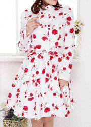 Sweet Stand Collar Rose Print Bowknot Belted Design Long Sleeves Slimming Women's Trench Coat -