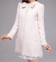 Fashionable Round Neck Bow Embellished Solid Color Long Sleeve Coat For Women -