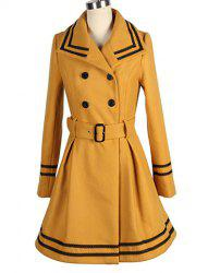 Vintage Turn-Down Collar Color Block Double-Breasted Long Sleeve Coat For Women -