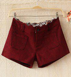 Checked Polyester Worsted Pockets Casual Style Women's Shorts -