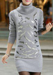 Pullover Turtleneck Sequin Sweater -