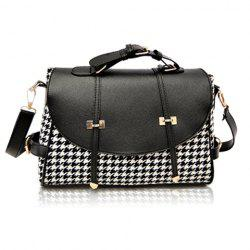 Fashion Houndstooth and Buckle Design Women's Crossbody Bag - BLACK