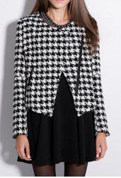 Color Block Worsted Long Sleeves Fashionable Style Checked Women's Blazer -