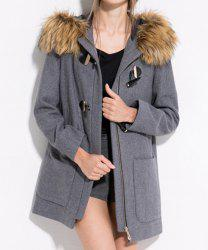 Casual Fur Embellished Solid Color Pockets Horn Button Long Sleeves Slimming Hooded Coat For Women -