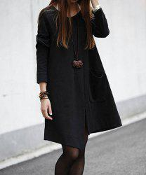 Solid Color Irregular Big Pocket Long Sleeves Casual Style Scoop Neck Cotton Women's Maternity Dress -