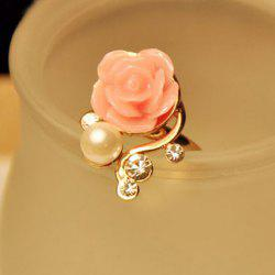 Beads Rhinestone Rose Flower Ring - AS THE PICTURE