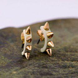 Pair of Punk Rivet Camber Shape Stud Earrings - WHITE