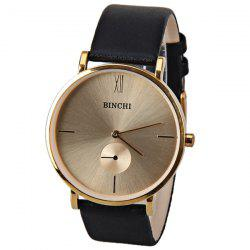 BINCHI Quartz Watch with Two Hands Number and Strips Hour Marks Real Leather Watchband IP Plating for Men -