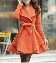 Turn-Down Collar Wool Blend A Line Coat With Belt - JACINTH