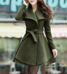 Turn-Down Collar Wool Blend A Line Coat With Belt -