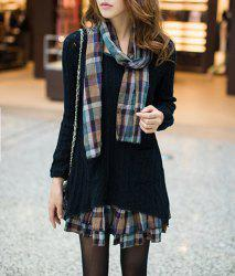 Sweet Scoop Neck Faux Twinset Hollow Out Checked Splicing Long Sleeves Sweater Dress For Women - BLACK