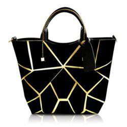 Stylish Geometric Print and Zipper Design Women's Tote Bag -