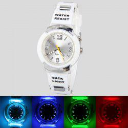 80033 Tranparent Frame Quartz Watch with Rubber Band Silver Connection Buckle for Women