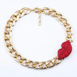 Characteristic Diamante Red Lip Pendant Thick Chain Alloy Necklace For Women -