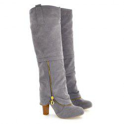 Elegant Suede and Zipper Design Women's Knee High Boots -
