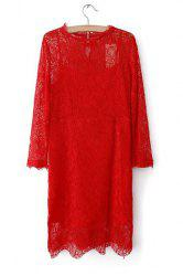 Simple Round Collar Solid Color Hook Flower Long Sleeves Lace Dress For Women -