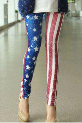 Casual Style Star Print Stripe Color Block Skinny Women's Leggings -