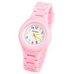 HYUNX Children Watch with 12 Arabic Numbers Indicate and Silica Gel Band - PINK