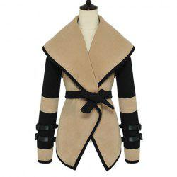 Stylish Big Turndown Collar Color Block Belted Buttonless Long Sleeves Women's Coat -