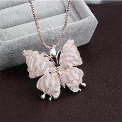 Cute Rhinestone Opal Butterfly Pendant Women's Sweater Chain Necklace - AS THE PICTURE