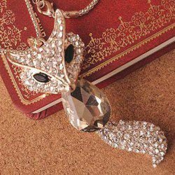 Retro Rhinestone Crystal Fox Women's Sweater Chain Necklace -