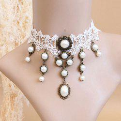 Elegant Faux Pearl Pendant Lolita Lace Necklace For Women -