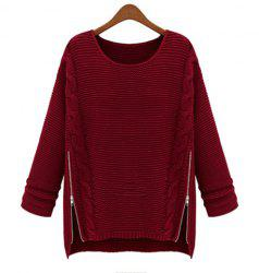 Women Long Sleeve Pullover Crewneck Side Zipper Knitwear Sweater -