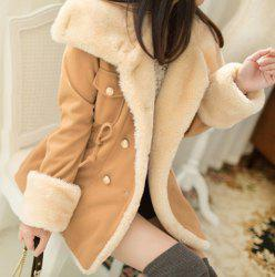 Long Sleeves Turn-Down Collar Double Breasted Fleece Lined Draw String Beam Waist Casual Women's Coat
