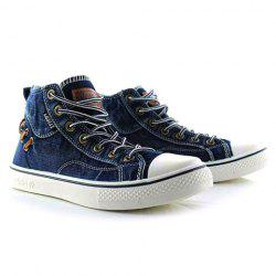 Retro Style Splice and Lace-Up Design Men's Canvas Shoes - BLUE