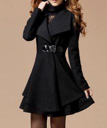 Solid Color Noble Style Worsted Turn-Down Collar Long Sleeves Women's Coat - BLACK L