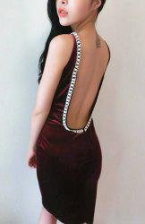 Open Back Rhinestone Bodycon Night Out Dress