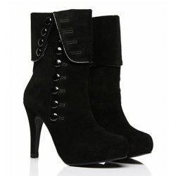 Fold Over Button Mid Calf Boots - BLACK