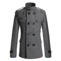 Korean Style Turndown Collar Solid Color Double-Breasted Long Sleeves Men's Polyester Trench Coat -